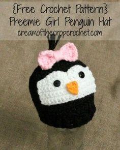 Preemie/Newborn Girl Penguin Hats ~ Cream Of The Crop Crochet
