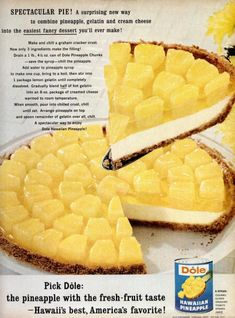 This says: Dole Pineapple Pie: Spectacular Pie! A surprising new way to combine pineapple, gelatin and cream cheese into the easiest fancy dessert you'll ever make! Jello Desserts, Jello Recipes, Fancy Desserts, Just Desserts, Delicious Desserts, Dessert Recipes, Yummy Food, Grandma's Recipes, Puddings