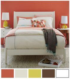 Paleta de colores ideal para recámara de jovencita en la cual se siente un ambiente cálido, juvenil y relajado.