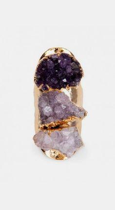 Linear Amethyst Ring - Purple Multi