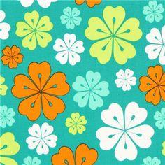 Tela verde flores hawaianas de Robert Kaufman - Telas de flores ...