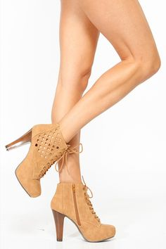 Qupid Camel Cut Out Lace Up Platform Bootie @ Cicihot. Booties spell style, so if you want to show what you're made of, pick up a pair. Have fun experimenting with all we have to offer!