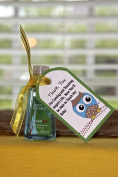 Cute Baby Shower Favor..anti bacterial hand sanitizer! I love love this!