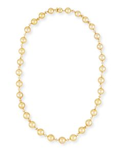 "Yellow Gold Pearl Necklace with Diamonds, 25"" - Yoko London"