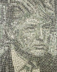 """Utah-based folk artist Sean Diediker used $1 bills to create this """"portrait of media baron Donald Trump."""" Diediker folds the currency strategically to create his portraits. (Caption summarized from link)"""