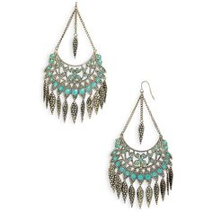 Stephan & Co. Feather Fan Chandelier Earrings Turquoise One Size found on Polyvore