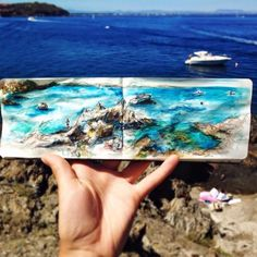 Define Peak — Stunning Travel Journal by Ieva Ozola Small Sketchbook, Travel Sketchbook, Sketchbook Drawings, Watercolor Illustration, Watercolor Art, Graffiti, Street Art, Sculpture, Vincent Van Gogh