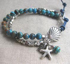 Turquoise Seashell - Aqua and Silver Coastal Charm Bracelet by SeaSide Strands