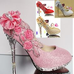 SHOEZY 2014 New Style Fashion Womens Glitter Flower Crystal Wedding Evening Prom Dress Metallic HIgh Heels Shoes Silver Red Gold(China (Mainland)) #prom heels