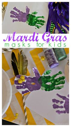 Easy Mardi Gras Masks for Kids - A Crafty SpoonfulThese mardi gras masks for kids are super easy to make and take only a few supplies to put together. via Danielle SimmonsEasy Mardi Gras Masks Daycare Crafts, Fun Crafts For Kids, Baby Crafts, Mardi Gras Activities, Craft Activities, Toddler Art, Toddler Crafts, Mardi Grad, March Crafts