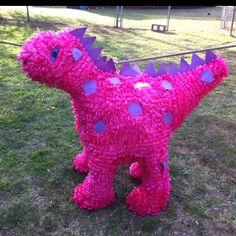 Dinosaur piñata  Pink, girl birthday party, party decorations