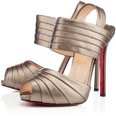 Christian Louboutin Arlettina ($895) ❤ liked on Polyvore featuring shoes, sandals, heels, scarpe, bronze, fall/winter 13, platform heel sandals, heeled sandals, leather strap sandals and strappy platform sandals