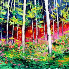 Oil painting abstract landscape original thick paint birch forest by Aja Lights Through The Trees 24x24 inches
