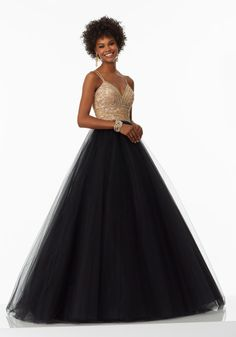 A-Line Prom Dress Featuring a Beautifully Beaded Bodice with Double Strap Detail and Simple Tulle Skirt. Zipper Back. Colors Available: White/Gold, Black/Gold