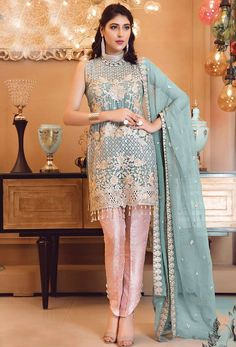 Party Wear Blue color Salwar Kameez in Faux Georgette fabric with Pakistani Embroidered, Stone, Thread work : 1639448 Pakistani Salwar Kameez, Pakistani Suits, Lehenga Choli, Salwar Suits, Pakistani Dresses, Kids Kaftan, Neck Deep, Georgette Fabric, Pakistani Designers