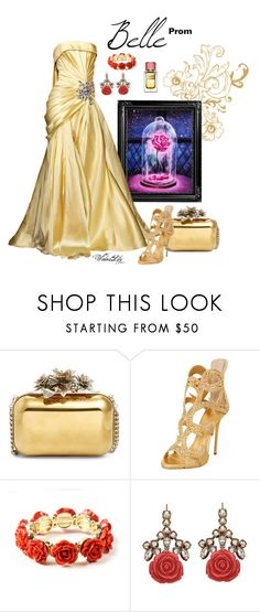 """""""Belle from """"Beauty and the Beast"""" PROM"""" by le-piano-argent ❤ liked on Polyvore featuring Disney, Elie Saab, Jimmy Choo, Giuseppe Zanotti, Amrita Singh, Mawi and Dolce&Gabbana"""