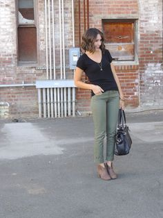 V-neck, cigarette pants, and booties