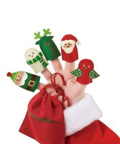 Christmas Finger Puppet Set - these would be easy to make from felt!