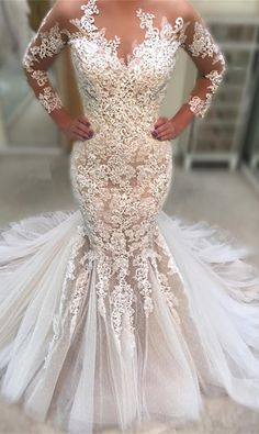 Custom Made Mermaid Wedding Dresses Gorgeous Long Sleeve 2019 Lace Appliqued Ruched Tulle Bridal Gowns with Court Train sold by Babybridal . Shop more products from Babybridal on Storenvy, the home of independent small businesses all over the world. Mermaid Gown Prom, Lace Mermaid Wedding Dress, Lace Dress, Sheath Wedding Gown, Wedding Gowns, Bridal Dresses, Bridesmaid Dresses, Prom Dresses, Halter Dresses