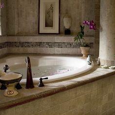 Whirlpool tub corner tub and tubs on pinterest for Whirlpool garden tub