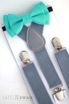 teal mint bowties and grey suspenders- groomsmen Wedding Groom, Wedding Attire, Our Wedding, Spring Wedding, Wedding Dresses, Chambelanes, Grey Suspenders, Boy Fashion, Mens Fashion