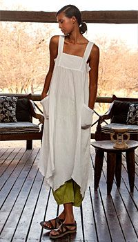 white summer dress - love the green pants!