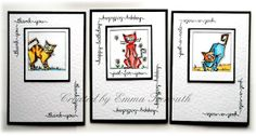 Set of cards using Tim Holtz crazy cat mini stamps