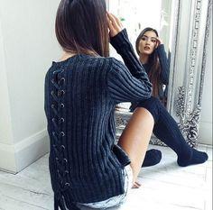 Blue bandage ladies sweater