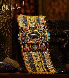 Items similar to Custom Beaded Bracelet, Statement Cuff Bracelet, Beaded by Esther Marker on Etsy Bead Embroidery Jewelry, Beaded Jewelry Patterns, Bracelet Patterns, Beaded Embroidery, Beading Patterns, Beaded Cuff Bracelet, Loom Bracelets, Seed Bead Jewelry, Loom Patterns