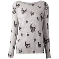 SKULL CASHMERE skull print knit pullover ($395) ❤ liked on Polyvore featuring tops, sweaters, shirts, jumpers, grey, long-sleeve shirt, grey sweaters, grey shirt, gray cashmere sweater and gray long sleeve shirt