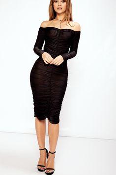 Lulu Black Slinky Ruched Bardot Midi Dress