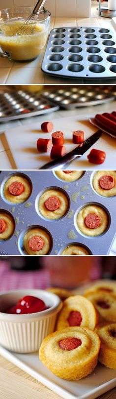 Mini Corn Dog Muffins Increase dog part of ratio. For mini muffins use 2t. batter instead of this 1T. or else they overflow.