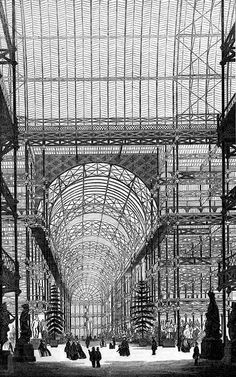 The Crystal Palace, made for The Great Exhibition, Hyde Park, London. Designed by Joseph Paxton Revolutionary design. Victorian London, Vintage London, Old London, Victorian Era, Crystal Palace, Industrial Architecture, Art And Architecture, Historical Architecture, Victorian Conservatory