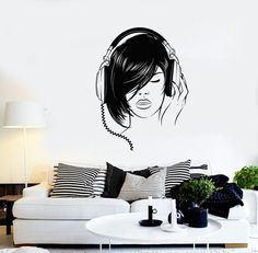 Wall Vinyl Decal Hot Sexy Lady Headphones Music Decor by BoldArtsy