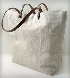 Linen and Leather Tote Bag - Natural Oatmeal