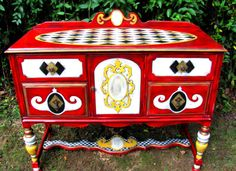 Hand painted vintage buffet server by Grandiloquentbyhand on Etsy