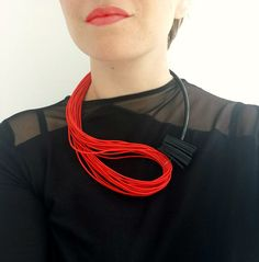 Red statement necklace Popular necklace Modern by PevalekArt