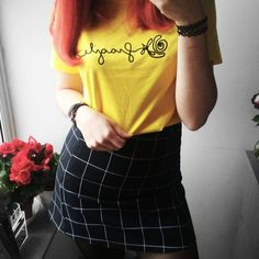SHOP THE OUTFIT AT SHOPSKYDANCE.EU | our newest fragile tee in yellow & grid skirt & my red hair is the best combo 🌹 find them at our website & etsy! ⠀ ⠀ #roses #yellow #redhair #weheartit #pastelgrunge #palegrunge #grunge #grungegirl #pale #aesthetic #aesthetictumblr #tumblr #tumblrgirl #tumblrpost #tumblrtee #inspiration #denim #vintage #indie #cute #ootd #outfitinspiration #outfitpost #fashionblogger #etsy #fashion #outfitgoals #grungestyle #artist #fblogger