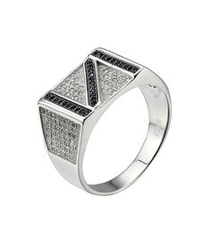 Express your individual and unique in a beautiful way, this men ring features reversed Z or N, and white zircons decorate the shoulders. The ring is crafted of sterling silver.