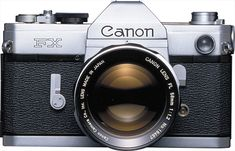 """FX - April 1964 (After the Canonflex R-series, the Canon FX was the first in a new series having an aperture linkage on a new lens mount. The model designation's """"flex"""" (for single-lens reflex) suffix was replaced with an """"F. Camera Watch, Film Camera, Canon 35mm, Nikon, Photography Tools, Photography Equipment, Consumer Marketing, Old Cameras"""