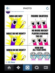 Funny figure ice skating-- so true tho! There's this guy who's started coming to my session(he's about 8 or something) and he gets on the ice near the end but he has this ball and hockey stick and I'm so scared he'll hit me!!