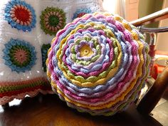 Blooming flower cushion by Lucy of Attic24 ~ free crochet pattern via Ravelry