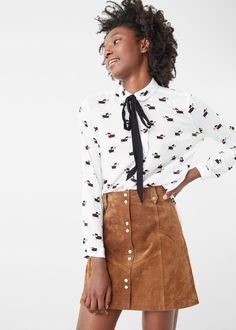Bow neck shirt - Shirts for Women | MANGO USA