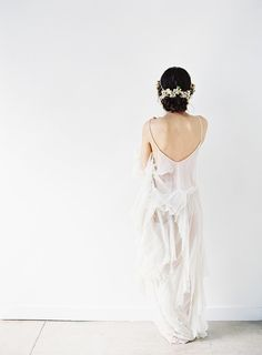 A soft and sheer wedding dress from @shopgossamer.