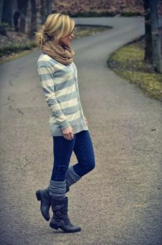 Fall Outfit With Cute Blue & White Cardigan and scarf