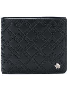 Versace Grecca embossed wallet - Black Cluch Bag, Versace Designer, Leather Money Clip Wallet, Designer Wallets, Italian Fashion, Best Brand, Calf Leather, Calves, Card Holder