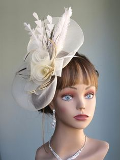 Ivory Wedding Head Piece Kentucky Derby Hat Fascinator Wedding Accessory  Cocktail Hat Bridal Accessory