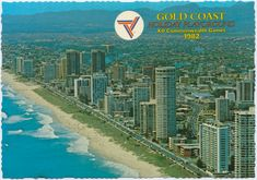 Commonwealth Games 1982, Surfers Paradise, Gold Coast, Aerial view featuring the famous foreshores of Surfers Paradise ;        Contributor:  Murray Views Collection Commonwealth Games, Surfers, Gold Coast, Aerial View, Playground, Paradise, History, Day, Travel