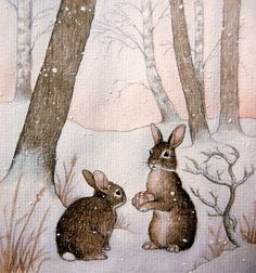Rabbits in Snow -