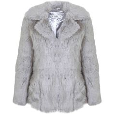 Miss Selfridge Petites Grey Faux Fur Coat (265 RON) ❤ liked on Polyvore featuring outerwear, coats, grey, petite, gray coats, imitation fur coats, grey coat, miss selfridge coats and faux fur collar coats